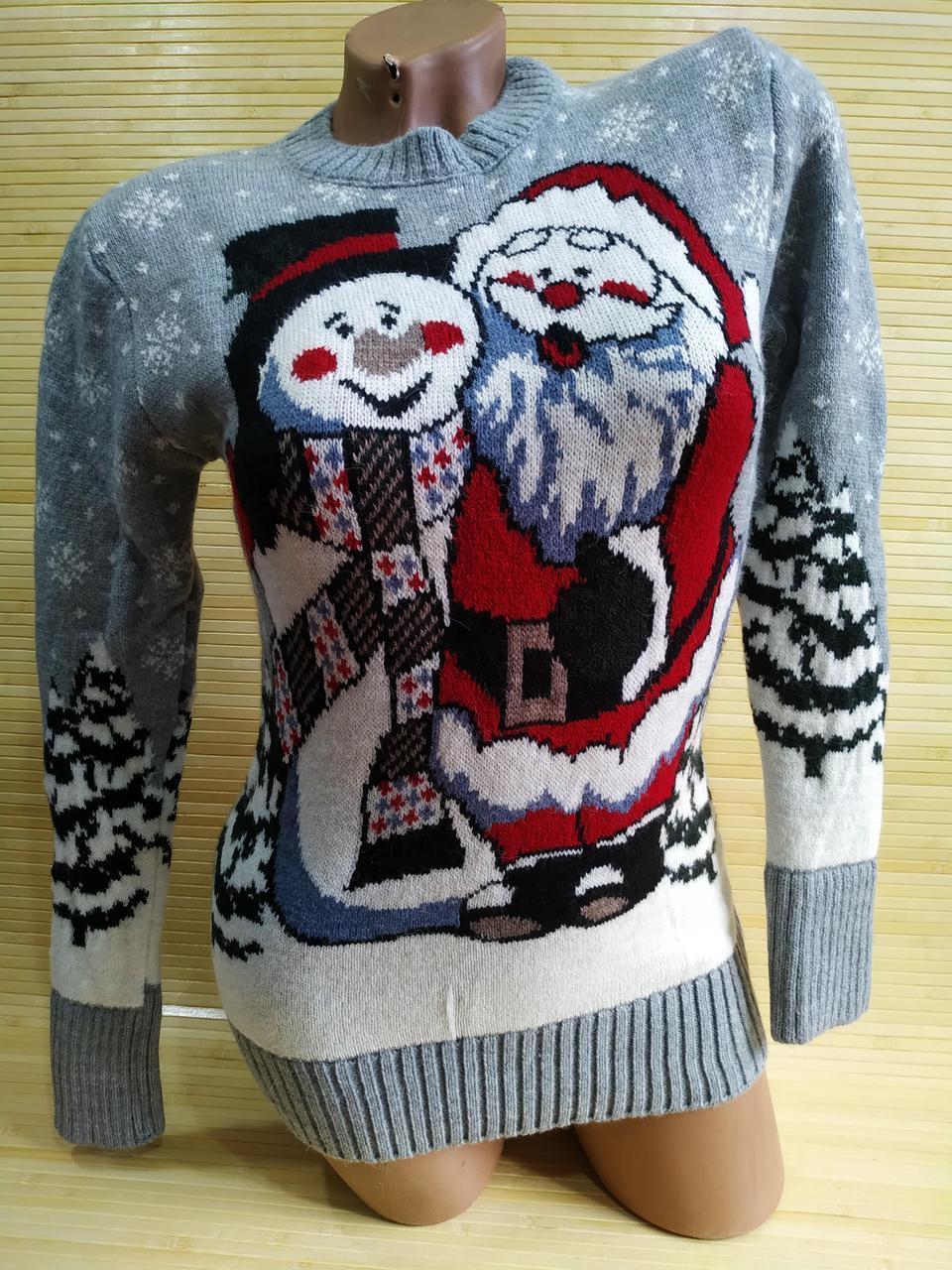 Новорічний светр п'яний Дід Мороз і Сніговик
