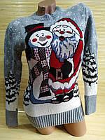 Новорічний светр п'яний Дід Мороз і Сніговик, фото 1