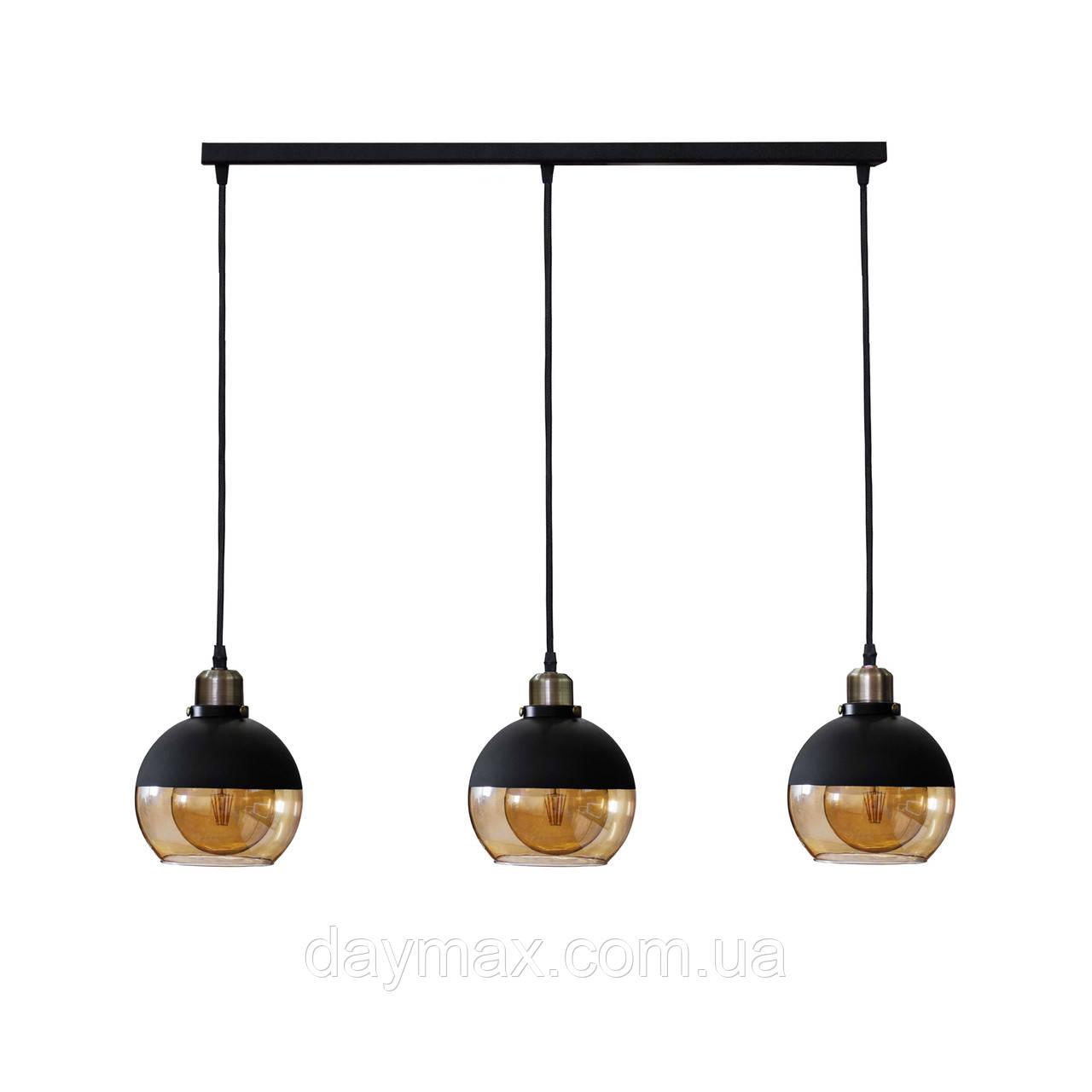 Светильник подвесной на три лампы в стиле лофт LS 5152-3  Стеклянный шар