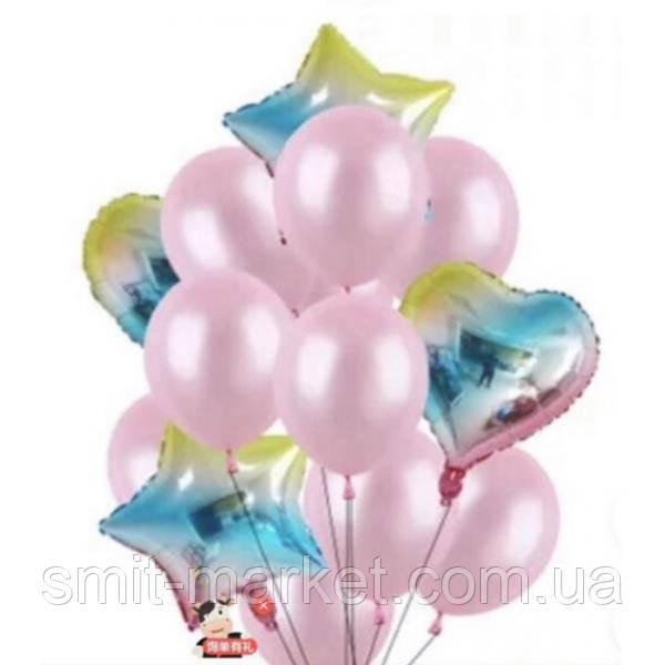 Набор шариков радужный (розовый)