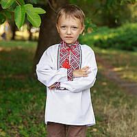 Рубашка с вышитым узором и молнией для мальчика