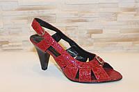 Босоножки женские красные натуральная кожа Б161, фото 1