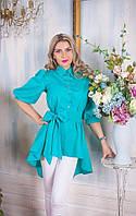 Женская блуза из легкого коттона в нежном бирюзовом цвете