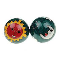 """Шарики для рук """"Солнце и луна"""" малые 4,3 см зеленые (C0809а), фото 1"""