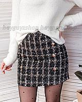Твидовая юбка в клетку размер XS  черная темно-серая с пуговицами теплая  мини