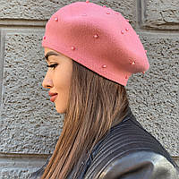 Берет женский с бусинами и стразами Ocean Angel в черном, розовом и белом цвете, артикул 5325