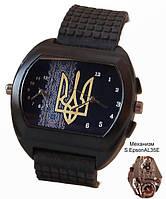 Часы мужские с символикой Украины, герб, черные, двойной циферблат
