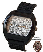 Мужские часы с символикой Украины, герб, черные, двойной циферблат