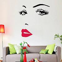 """Наклейка """"ЛИЦО"""" виниловая на стену. Для декора помещений, салонов, парикмахерских и.т.д."""