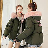 Женский укороченный объемный зимний пуховик, парка, куртка Portland Academy зеленый (хаки)