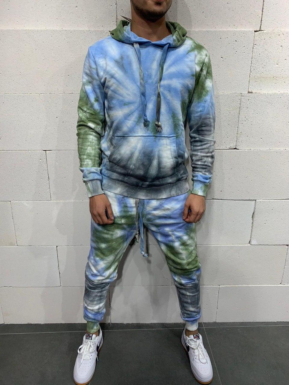 Спортивный костюм - Мужской спортивный костюм цветной (голубой, зеленый, серый)
