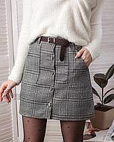Юбка в клетку серая с пуговицами с карманами теплая с плетеным коричневым ремнем
