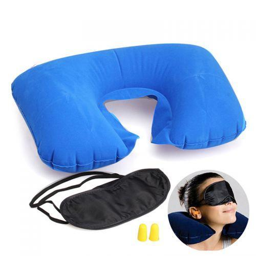 Дорожный набор для сна 3 в 1 маска беруши надувная подушка, фото 1