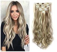 Волосы трессы на заколках ТЕРМО 7 прядей №24н68 длина 53см мелирование пепельный блонд с русым пепельным
