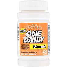 """Вітаміни і мінерали для жінок, 21st Century """"One Daily women's"""" (100 таблеток)"""