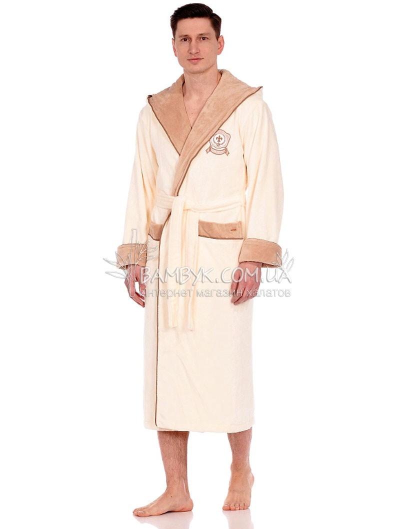 Мужской халат Nusa бамбуковый кремового цвета NS-7160