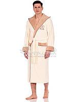NS-7160 Мужской халат Nusa бамбуковый кремового цвета