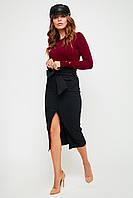 Черная облегающая юбка миди с высокой талией, фото 1