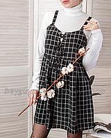 Сарафан платье с клетку на фнуровке черный в корейском стиле оверсайз свободное