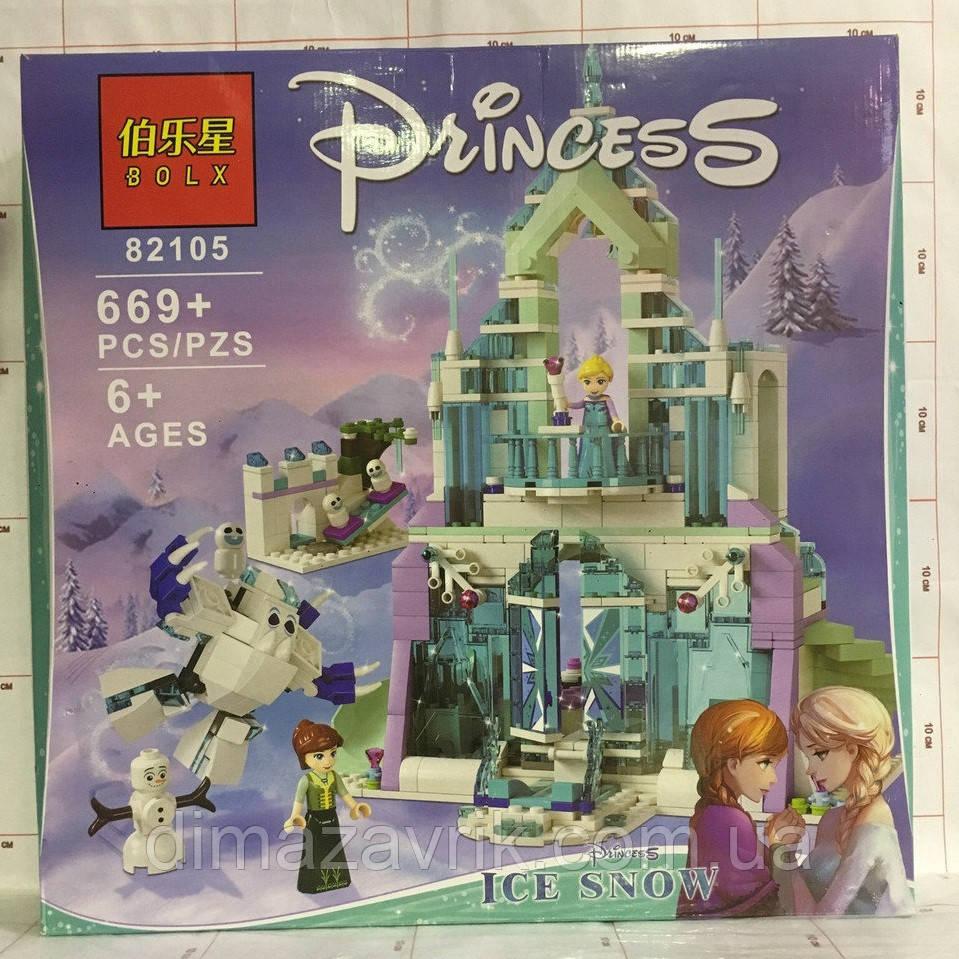 """Конструктор Blx 82105 (Аналог Lego Disney Princess 41148) """"Волшебный ледяной замок Эльзы""""669 деталей"""