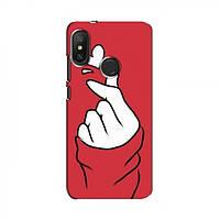 Чехол с принтом для Xiaomi Redmi 6 pro (AlphaPrint - Знак сердечка) (Сяоми (Ксиаоми, Хиаоми) Редми 6 Про)