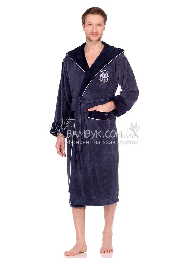 NS-7160 Мужской халат Nusa бамбуковый серо-голубого цвета