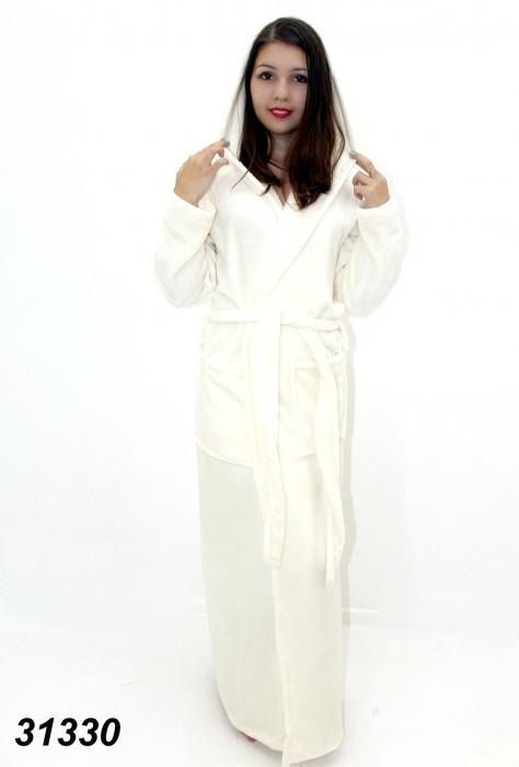 Длинный белый халат , женский с капюшоном  S(46). M(48). L(50). XL(52)