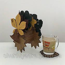"""Набір костерів """"Їжачок з листям"""" (підставками для чашок)"""