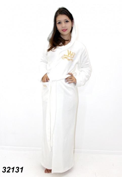 Длинный махровый халат с вышивкой  S(46). M(48). L(50). XL(52)