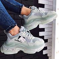 Женские кроссовки в стиле Balenciaga Triple S Clear Sole Mint