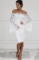 Элегантное вечернее платье  кружевное платье с открытыми плечами (Цвета в наличие)