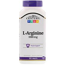 "L-Аргинин 21st Century ""L-Arginine"" 1000 мг, поддержка мускулатуры (100 таблеток)"