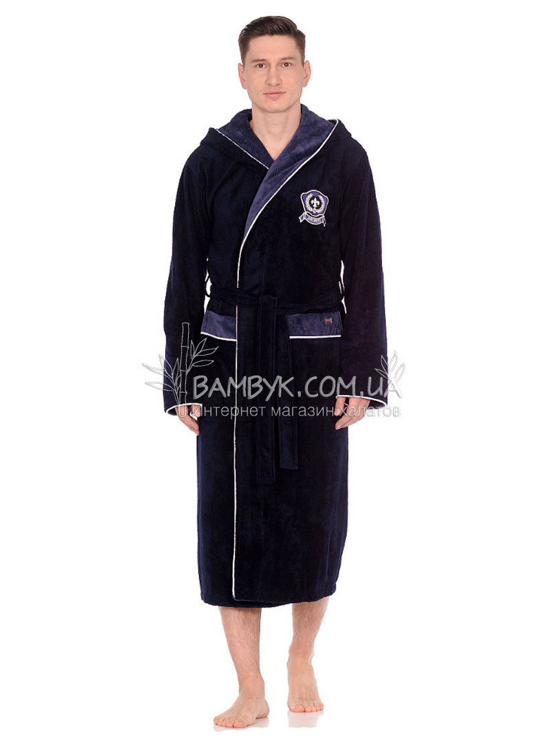 Мужской халат Nusa бамбуковый темно-синий цвета NS-7160