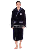 Мужской халат Nusa бамбуковый темно-синий цвета NS-7160, фото 1