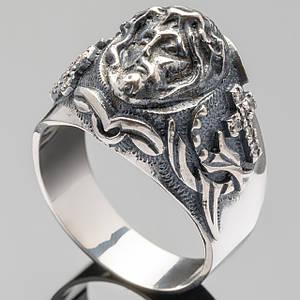 Кольцо мужское из серебра с Иисусом арт. 406к