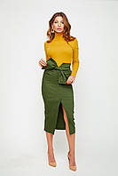 Женская юбка-карандаш ниже колена с разрезом