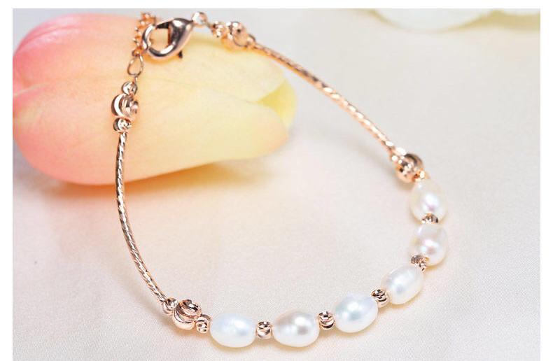 Жіночий браслет з білими перлами код 1704
