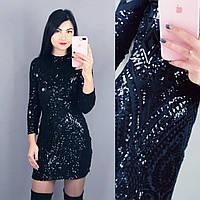 """Элегантное женское платье с паетками ткань """"Дайвинг на подкладке"""" 42 размер норма"""