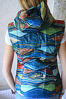 Женская жилетка с капюшоном на змейке S M L XL