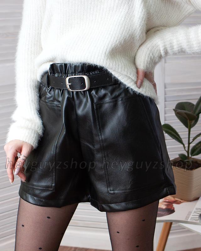 Кожаные шорты черные мини с карманами короткие свободные оверсайз с поясом