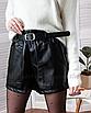 Кожаные шорты черные мини с карманами короткие свободные оверсайз с поясом, фото 3