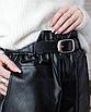 Кожаные шорты черные мини с карманами короткие свободные оверсайз с поясом, фото 5