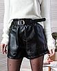 Кожаные шорты черные мини с карманами короткие свободные оверсайз с поясом, фото 8