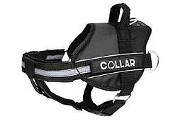 Шлея Police N1 35-45 см зі змінним написом чорна DogExtreme для собак