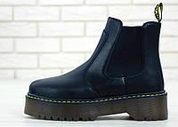 Женские осенние ботинки Dr.Martens PLATFORM CHELSEA (натуральная кожа) черные
