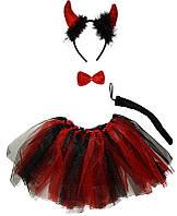 """Карнавальный детский костюм """"Дьяволица, чертик"""" черный с красным  - карнавальный костюм для девочки"""