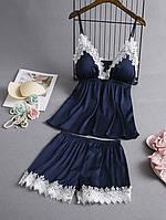 Пижама атласная женская синяя