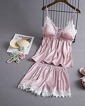 Піжама атласна жіноча рожева П112