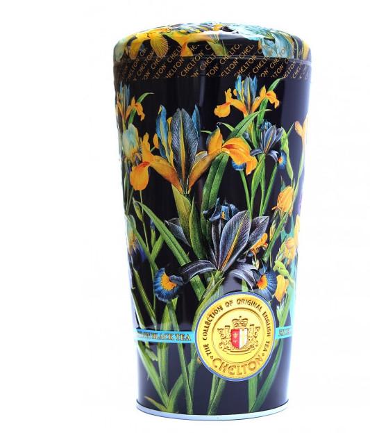 Чай Челтон Ваза Ирисы с кусочками фруктов и лепестками цветов чёрный листовой 100 г в жестяной банке