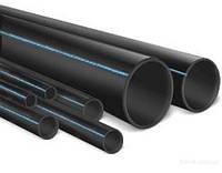 Труба полиэтиленовая водопроводная Ф 50 6 атм. черная с синей полосой Харьков